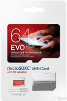 Wholesale Android 128gb - 50 pcs EVO Plus 32GB 64GB 128GB Class10 UHS-1 MicroSDHC TF SD Card for Android Powered Tablet PC Digital SmartPhones Up 80MB s EVO+