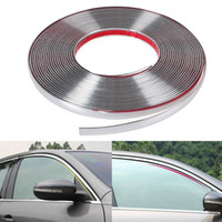 Wholesale Chrome Strips - 13Meters Silver Car Chrome Styling Decoration Moulding Trim Strip Tape Auto DIY Protective Sticker 6mm 8mm 10mm 12mm 15mm 18mm 20mm 22mm 25m