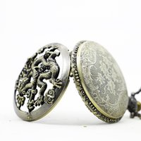 Wholesale Hot new fashion retro pocket watch hollow carving dragon retro watches manufacturers is very good