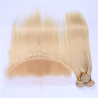 Wholesale golden blonde hair extensions - Peruvian Blonde Human Hair Weaves With Frontal Silky Straight #613 Golden Blonde 13x4 Full Lace Frontal With 3 Bundles Extensions 4Pcs Lot