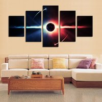 Wholesale Canvas Painting Set Two - 5pcs set Unframed Fantasy Universe Two Poles Wall Art Oil Painting On Canvas Fashion Textured Paintings Picture Living Room Decor