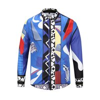 Wholesale 3d Luxury - 2018 fashion Wave Of Men 3D Floral Print Colour Mixture Luxury Casual Harajuku Shirts Long sleeve Men's Medusa Shirts M--2XL