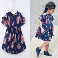 Wholesale Wholesale Vintage Dress Children - Everweekend Girls Vintage Floral Dress Puff Sleeve Ruffles Classic Summer Cotton Dress Ins Hot Sell Cute Children Dresses