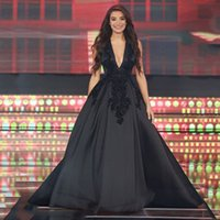 Wholesale Celebrity Designer Gowns - Free Shipping Sexy Deep V-Neck Black Satin Evening Dresses 2017 Vestidos De Noite Cheap Celebrity Evening Gowns