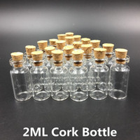 Wholesale Glass Jars Wood - 2ml Vials Clear Glass Bottles With Corks Mini Glass Bottle Wood Cap Empty Sample Jars Small 35x16mm(HeightxDia) Cute Craft Wish Bottles