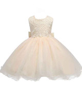 Wholesale Tank Top Flower Girl Dresses - HarveyBridal Champagne Tank Top Simple Lace Flowers Girls's Dresses Tea Length Ball Gown Tulle Kid's Wedding Party Gowns with Big Bow Back