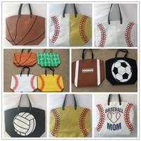 Wholesale Wholesale Basketball Clothing Sports - 13 Styles Canvas Bag Baseball Tote Sports Bags Casual Softball Bag Football Soccer Basketball Cotton Canvas Tote Bag CCA7889 50pcs