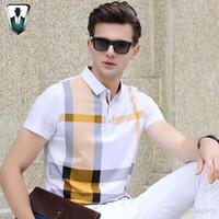 9133fc2392 Homens de verão polo camisas xadrez patchwork manga curta fresco  mercerizado de algodão slim fit casual homens de negócios camisas