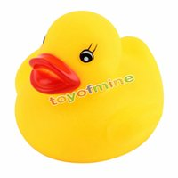 Vente en gros - 5PCS Yellow Baby Kids Children Bath Toy Cute Rubber Race Duck Duck Squeaky