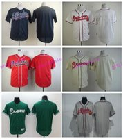 Wholesale Baseball Uniform Wholesale - Blank Atlanta Braves Jersey Men Stitched Braves Baseball Jerseys Blank Personalized Uniforms Any Name and Number Cooperstown White Blue Red