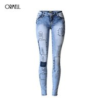 Wholesale Cotton Tie Dye Leggings - Wholesale- NEW Sexy Women Jean Skinny Jeggings Stretchy Slim Leggings Fashion Hole Patch Skinny Pants