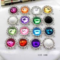 100pcs lot 16mm Round Silver Metal Rhinestone Button With Acrylic Center Wedding Hair Embellishments DIY Accessory Decor