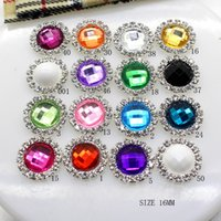 Wholesale Center Purple - 100pcs lot 16mm Round Silver Metal Rhinestone Button With Acrylic Center Wedding Hair Embellishments DIY Accessory Decor