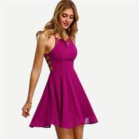 vestido correa de espagueti rosa caliente al por mayor-Hot Pink Cross Lace Up Correa de espagueti sin espalda Vestido skater corto Mujer Una línea sin mangas Mini vestido