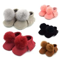 Wholesale Newborn Shopping - 2017 New Pompon Baby First Walkers cartoon Soft bottom Shoes Newborn tassel First Walkers free shopping