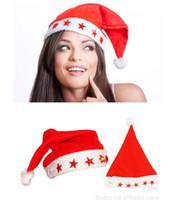 Wholesale Santa Hat Flashing Light - LED Flashing Light Christmas Caps Fashion Nonwovens Red Santa Claus Hats Christmas Gifts Decoration New Year Decoration