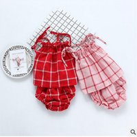 Wholesale Tank Tops Outfit Baby Boy - Ins Baby outfits toddler kids plaid ruffle lace-up bows tank top + cotton short pants 2pcs sets summer new baby boys girls clothes T2827