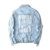 Wholesale Hiphop Beads - Fall-Light Blue Denim Jacket Kanye west PABLO Album Souvenir Swag Clothing Street Fashion Hiphop men jean Jackets