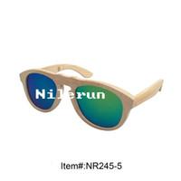 espejo de bambú verde al por mayor-Gafas de sol de bambú ecológicas de lente polarizante verde
