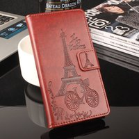 Wholesale Thl Brand Phones - Luxury Leather Case Cover for THL T9 P ro Flip Book Retro Phone Cases with Wallet Stand Card 3D Printed Eiffel Tower