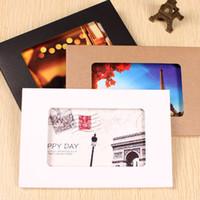 Wholesale Wholesale Paper Invitation Boxes - Wholesale-50pcs lot-155*102*5mm Kraft paper Postcard Photo Boxes Invitation Play Card Packaging Cardboard Boxes postcards envelope