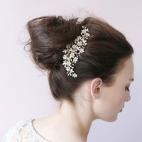 Wholesale Honey Hair Accessories - Twigs & Honey Wedding Headpieces With Flower Rhinestones Natural Pearls Women Hair Combs Wedding Tiaras Bridal Hair Accessories #O024