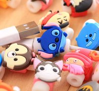 Wholesale Iphone 4s Cartoon - Cartoon Cable Protector Data Line Cord Protector Protective Sleeves Cable Winder Cover For iPhone 7 Plus 6 5 4 4S USB Charging Cable 100pcs
