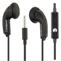 Wholesale Coolpad Cell Phones - Flat head earbuds With Mic and voice control operation 1.2m round core black earphone for Coolpad 9970 9976A 8720L f1s 7295C