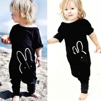 Wholesale Kids Quote - 2017 Cute Newborn Kids Clothing Baby Boy Girl Black Cotton Rabbit Romper Quoted Jumpsuit Bodysuit 3M-4T