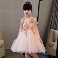 Wholesale Evening Dresses For Baby Girls - Elegant Flower Girl Dress For Weddings Appliques Tulle Evening Party Dresses Half Sleeve Baby Christening Dresses Prom Gown