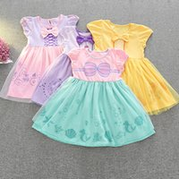Wholesale Belle Party - 2017 New Summer Mermaid Belle snow White Princess dress cartoon Bow Children Party Dresses 11 styles Kids clothing Halloween costumes C2338