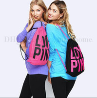 Wholesale Drawstring Canvas Backpack - Women Victoria Pink Backpack LOVE PINK School Bags Pink Letter Storage Bags Fashion Canvas VS Organizer Shopping Bags Drawstring Bag B1961