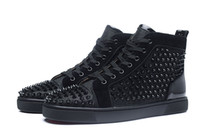 Wholesale Mens High Buckle Boots - New 2017 Mens Womens Black Glitter Leather With Spikes High Top Sneakers,Brand Flat Boots Casual Shoes 35-47 Drop Shipping