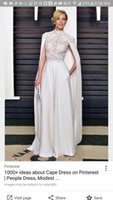 Wholesale Split Sleeve Occasion Dresses - Modest White Chiffon Lace Celebrity Evening Dresses 2017 With Cape High Neck Floor Long Plus Size Custom Made Prom Occasion Gown Red Carpet