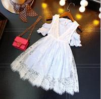 Wholesale Girls Stripped Tutu Dress - 2017 new kids clothing set 2pcs dress set lace vest dress+strip sundress sz0147
