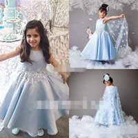 Wholesale Dress Girl Feather - Toddler 2017 Lovely Lace Feather Waist Flower Girls Dresses With Wrap Light Blue Girls Birthday Communion Party Dresses Kids Formal Wear