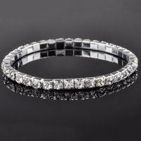 Wholesale Neoglory Wedding - 1 2 3 4 5 6 Rows Rhinestone Bracelet Neoglory Charm Beads Wrap Chain Bangles For Bridal Wedding Bling Bracelet Jewelry