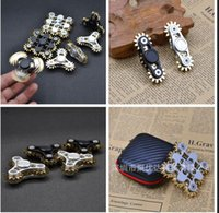 Wholesale Toy Gear Wheels - Four Teeth Linkage 4 GEAR Hand spinner 3 teeth gear HandSpinner Fidget Spinner with 4 wheels Top Finger Gyro Decompression Anxiety Toy C759