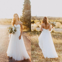 Wholesale romantic country style - 2017 Romantic Country Style Simple Wedding Dresses Lace Sweetheart Tulle Floor Length Backless Plus Size Bridal Dress for Beach Garden