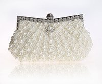 Wholesale High Quality Beaded Handbags - Wholesale- 2016 High Quality Cream Evening Bag Women's Beaded Zircon Handbag Clutch Birthday Gift Party Purse Makeup Bag Mujer Bolso 92045