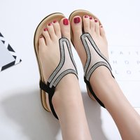 Wholesale Comfortable Wedges Sandal - Summer Bohemia Beach Women Sandals Crystal Net yarn Comfortable Seaside Breathable Flip Flops flat Soft bottom Woman Shoes
