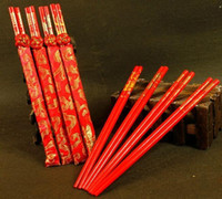 Wholesale Chinese Wedding Chopsticks - New Wood Chinese chopsticks,printing both the Double Happiness and Dragon,Wedding chopsticks favor