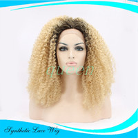Wholesale Kinky Curls Wigs - Ombre curly synthetic lace front wig glueless kinky curl heat resistant synthetic lace front wig for black women ombre blonde wig