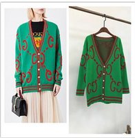 Wholesale Computer Letter - 2018 Brand Same Style Sweater Cardigan Regular Long Sleeve V Neck Letter Fashion Pink Green Blue YB