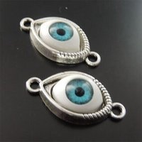 Wholesale Evil Eye Connector Free - Wholesale-Wholesale 25pcs Sale Antiqued Silver Blue Evil Eye Alloy Charms Connector Pendant fashion jewelry finding Free shipping