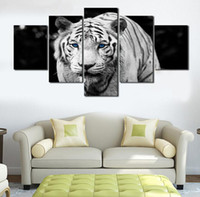 Wholesale Tiger Abstract Canvas - Modern HD printed Animal White Tiger Printing 5 Pcs Canvas Paintings For Living Room Unframed animal oil painting