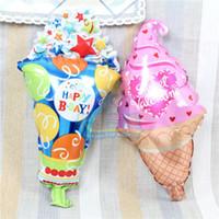 Wholesale B Balloon - 50pcs lot Latest mini ice cream balloon with star sweet valentine foil globo for HAPPY B-DAY decoration ballon