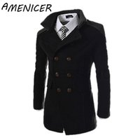 Wholesale Famous Brand Hot Sale Men Woolen Jacket Slim Fit Stand Collar Double Breasted brand winter Woolen Jacket parca inverno masculi