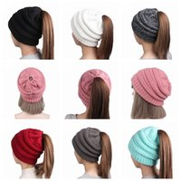 Wholesale Hair Holes - Ponytail Stretchy Knitted Beanie Cap Women Winter Warm Hole Ski Hat High Bun Hair Stretchy Beanies 11 Colors OOA3386