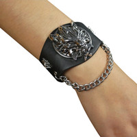 Wholesale Final Animation - Wholesale-Japanese Animation Final Fantasy VII 7 Cloud Wolf Wristband COSPLOY Bracelets Advent Children Black Leather Wide Bangles A00193